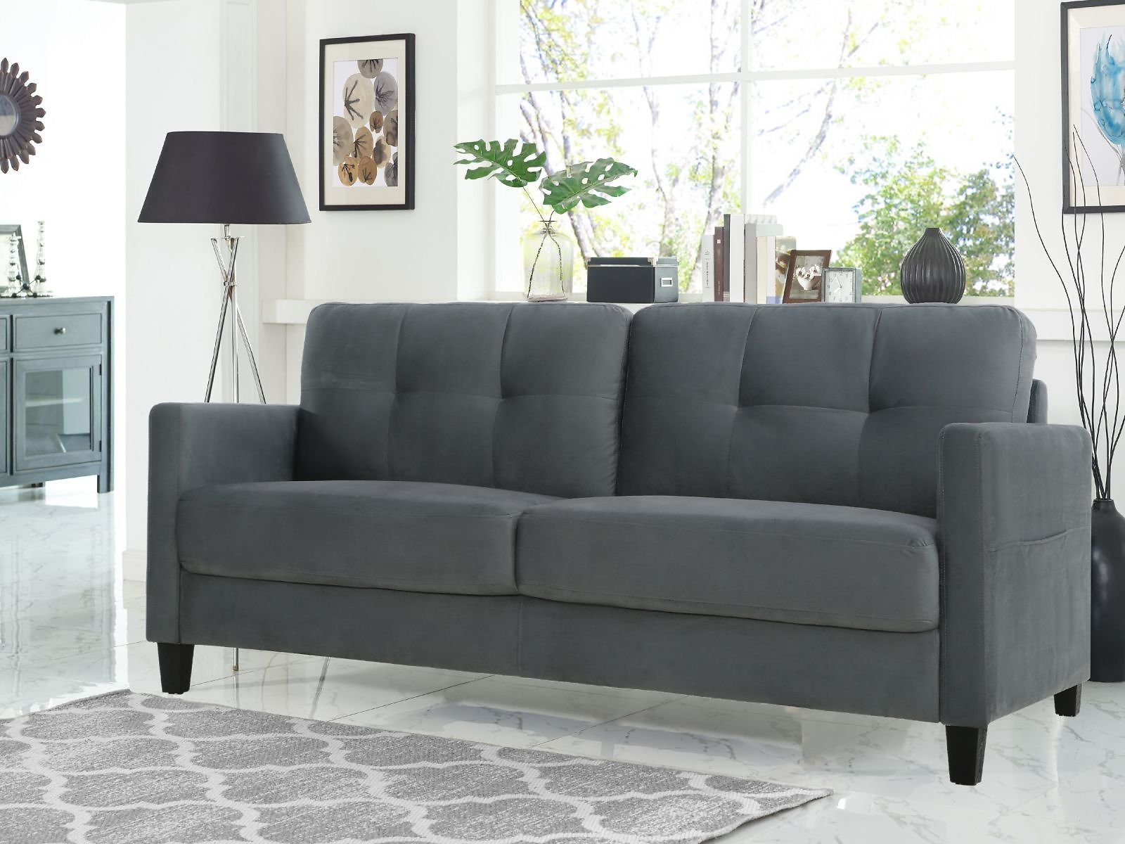 Lifestyle Solutions Tod Sofa with Upholstered Microfiber Fabric and Eucalyptus Wood, Dark Grey