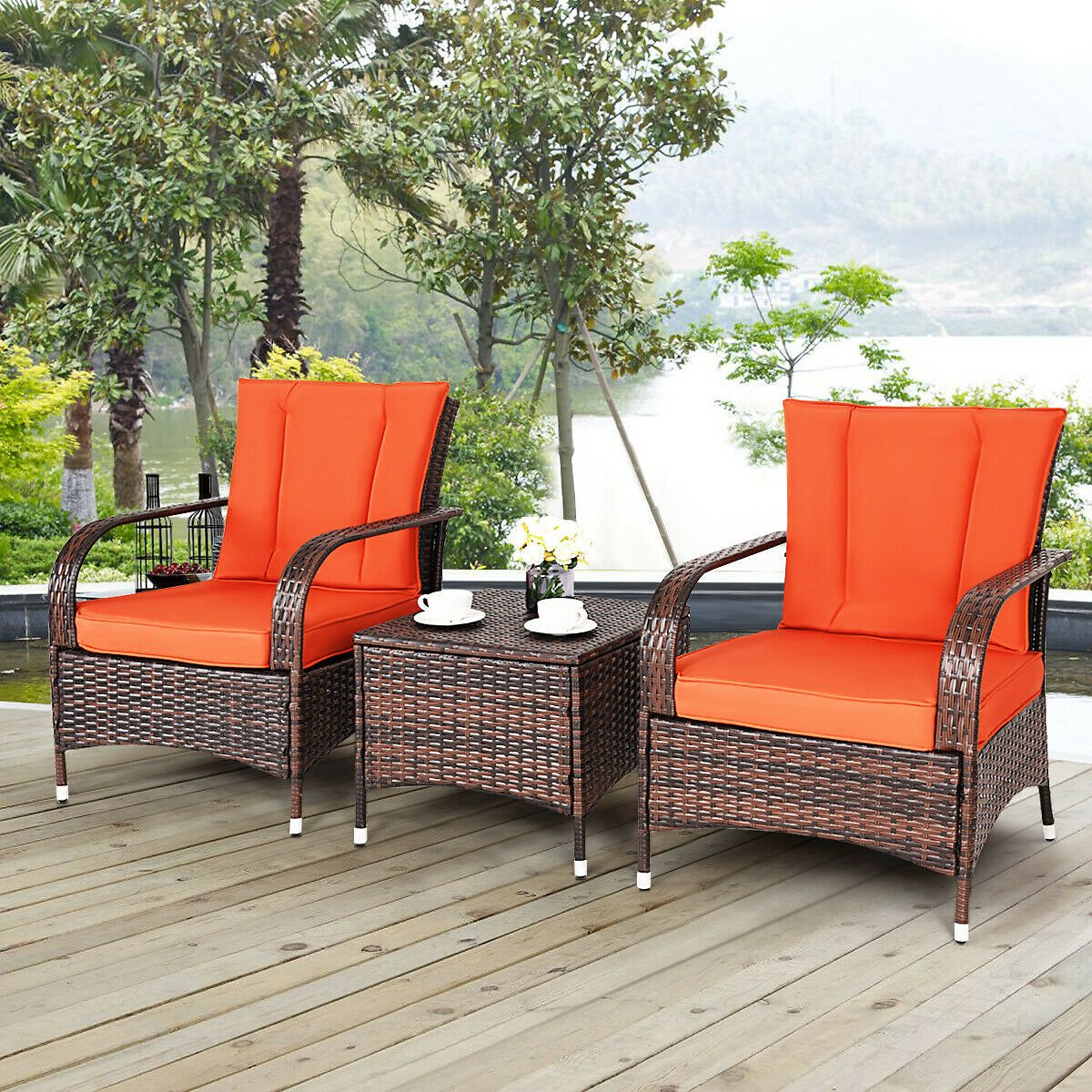 Costway 3PCS Outdoor Patio Mix Brown Rattan Wicker Furniture Set Seat with Orange Cushions