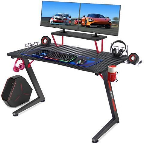 GTRACING Gaming Desk Computer Office PC Gamer Table Pro Racing Style Professional Game Station Z-Shaped with Gaming Controller Tablet Stand & Cup Holder, Black - Newegg.com