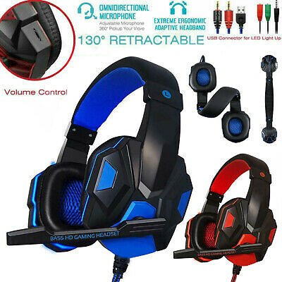 Gaming Headset 3.5mm Wired Headphones Stereo with Mic LED For Xbox PS4 Pro Pf