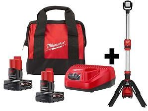 Milwaukee M12 12-Volt Lithium-Ion Cordless 1400 Lumen ROCKET LED Stand Work Light Kit W/ Two 4.0 Ah Batteries, Charger & Bag-2132-20-48-59-2442SP