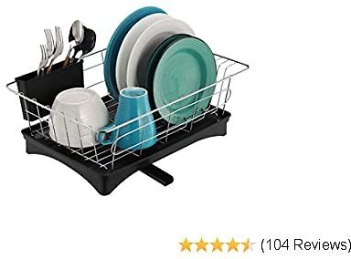 Dish Rack and Drainboard Set, 304 Stainless Steel Sink Dish Drying Rack - Removable Cutlery Tray, Adjustable Swivel Spout