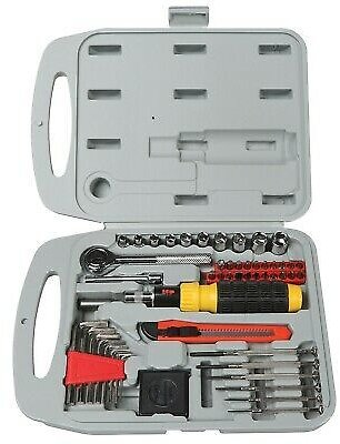 Hand Tool Set - 55 Piece Heavy Duty Portable Repair Kit with Gray Storage Case