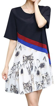 Plus Size Women Casual Dress Cat Printed Short Sleeve Patchwork Chiffon Dresses Plus Size from Women's Clothing on Banggood.com