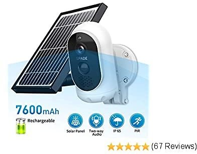 50% OFF SPADE 1080P Solar Wireless Camera,Outdoor Security Camera,App Remote,Motion Alert,2.4GHz WiFi, 32GB SD Storage
