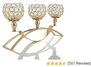VINCIGANT Gold Crystal Candle Holders,3-Candle Candelabras,(Gifts Boxed) Centerpieces for Living Room,Dinning Room Table Decoration,Wedding Gifts