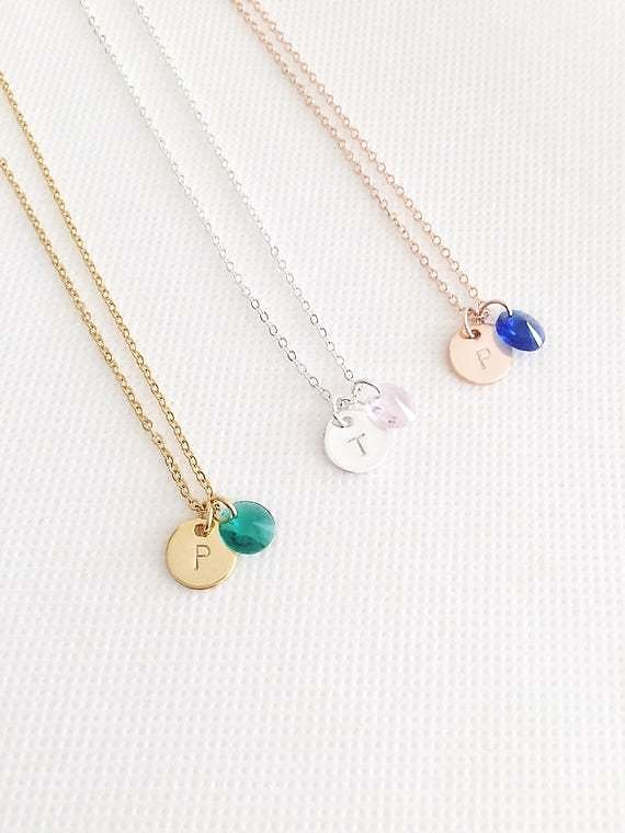 Birthstone Necklace, Initial Necklace, Personalized Jewelry, Gifts for Her, Gift for Women, Bridesmaid Gift, Custom Jewellery, Necklace Gift
