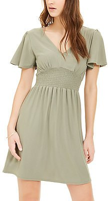 Planet Gold Juniors' Cinched Flutter-Sleeve Dress