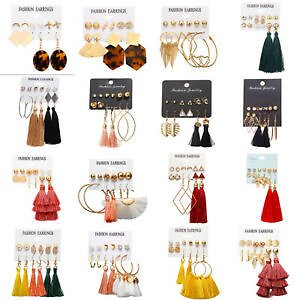 Women Boho Tassel Crystal Pearl Earrings Set Women Ear Stud Dangle Jewelry Gift