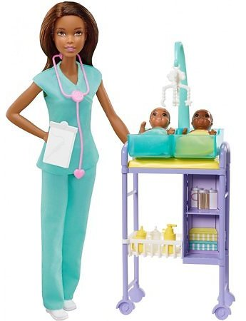 Barbie Baby Doctor Playset With Brunette Doll, 2 Infant Dolls, Toy Pieces