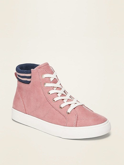 Faux-Suede Pink High-Tops for Girls | Old Navy