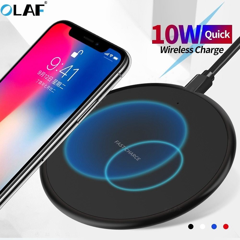 US $2.34  10W Fast Wireless Charger For Iphone 11 8 Plus Qi Wireless Charging Pad For Samsung S10 Huawei P30 Pro Phone Charger Adapter Wireless Chargers  - AliExpress