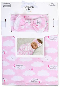 Crown & Ivy™ Baby Girls Thanks Heavens Swaddle and Headband