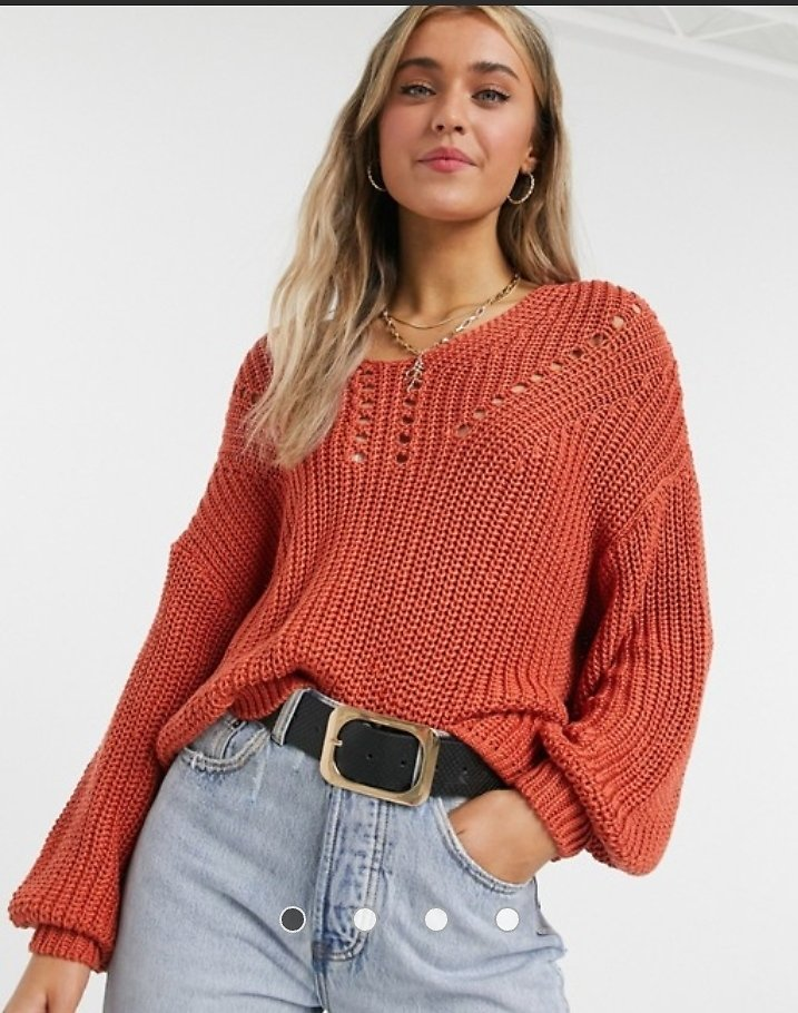 Y.A.S. Joy Puff Sleeve V-neck Sweater in Red | ASOS