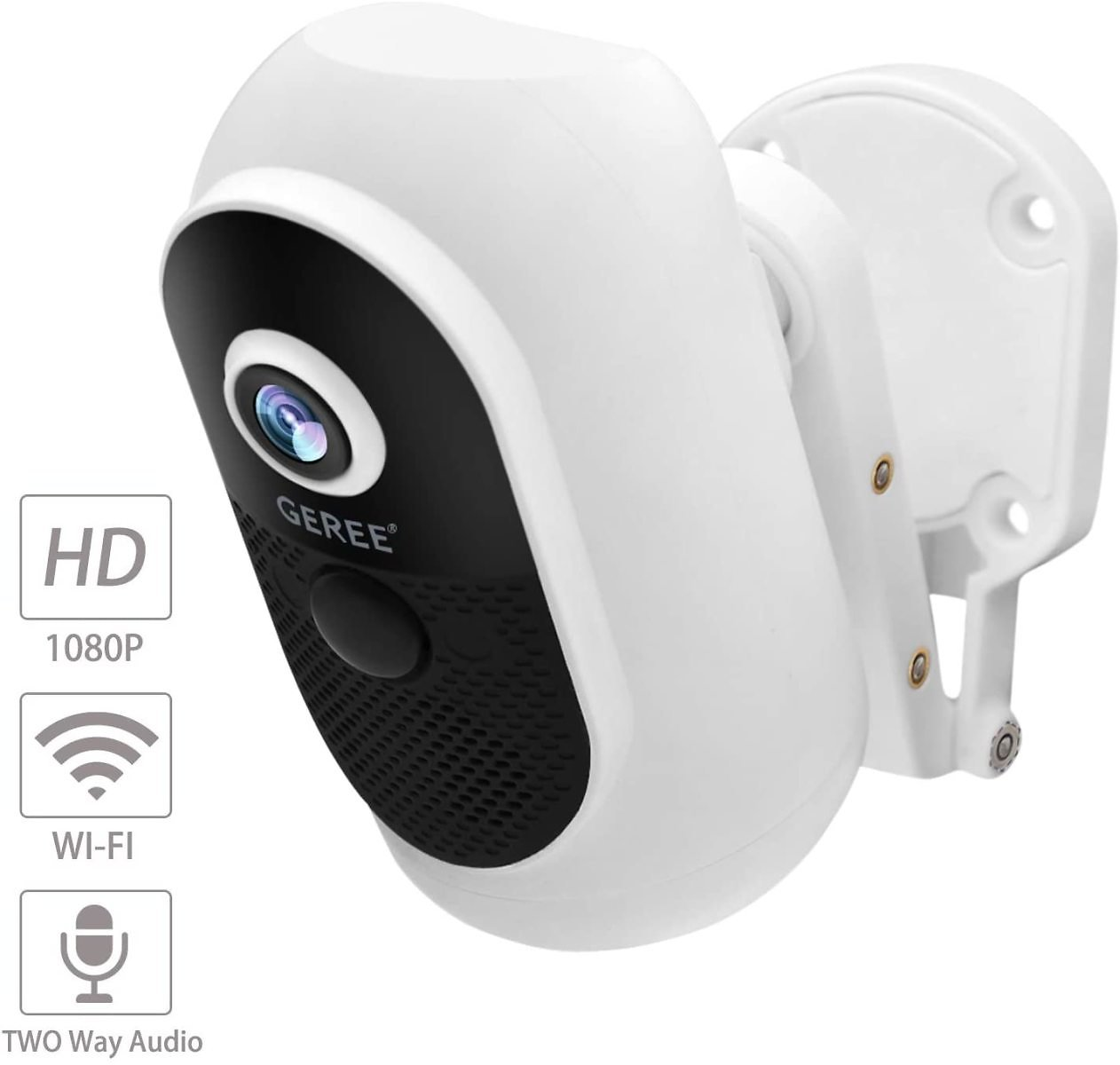Wireless Outdoor Security Camera,Rechargeable Battery Powered WiFi Camera, Indoor/Outdoor Surveillance Home Camera,GEREE 1080P V