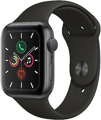 Apple Watch Series 5 44mm Space Gray Aluminum Case Black Sport Band MWVF2LL/A 190199264427