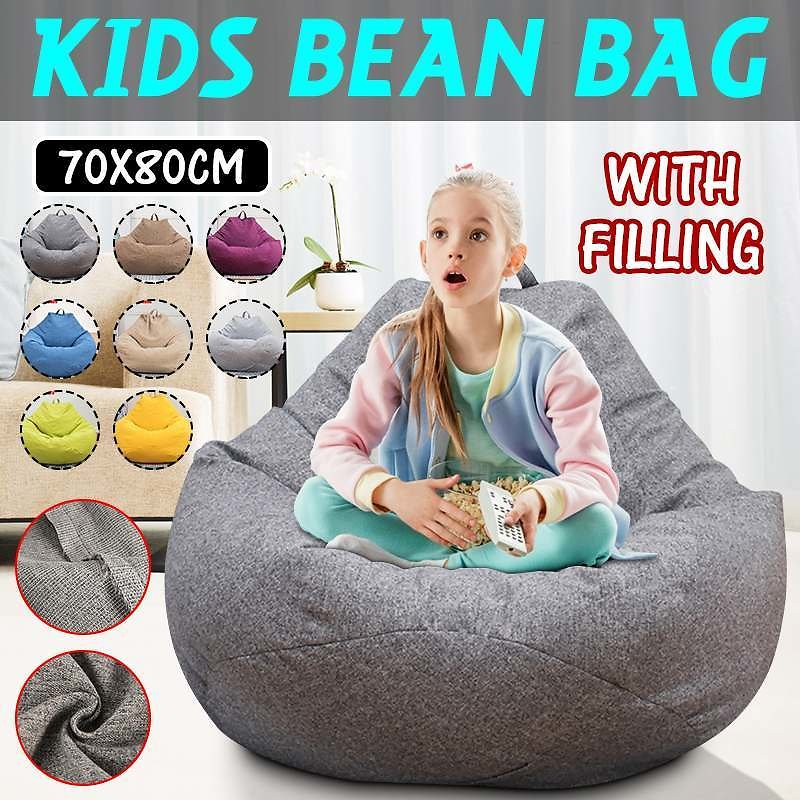 Kids Bean Bag 70x80cm Children Couch Lazy Chair Single Sofa Child Lounger With Filling EPS Beads Home Living Room Furniture Sofa