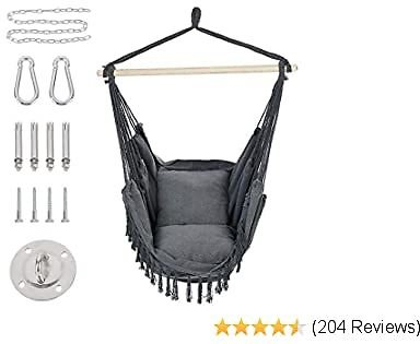 Patio Watcher Hammock Chair Hanging Rope Swing Seat with 2 Cushions and Hardware Kits, Perfect for Indoor, Outdoor, Home, Bedroom, Patio, Yard,Deck, Garden, Gray