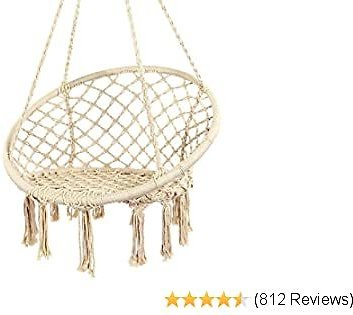 Y- STOP Hammock Chair Macrame Swing - Max 330 Lbs-Hanging Cotton Rope Hammock Swing Chair for Indoor and Outdoor Use (Beige)