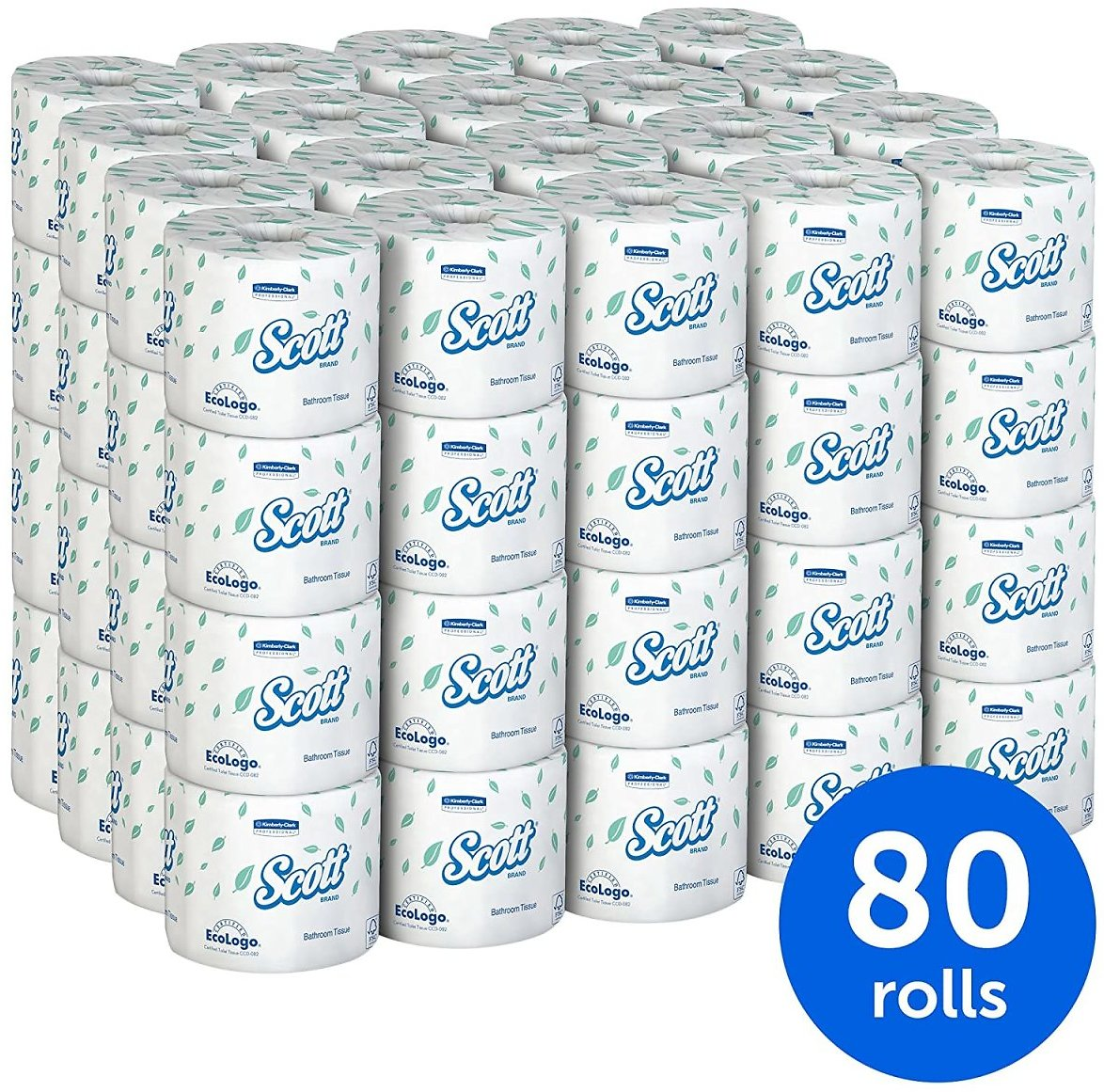 Scott Essential Toilet Paper, 2-PLY, White, 80 Rolls / Case, 550 Sheets / Roll
