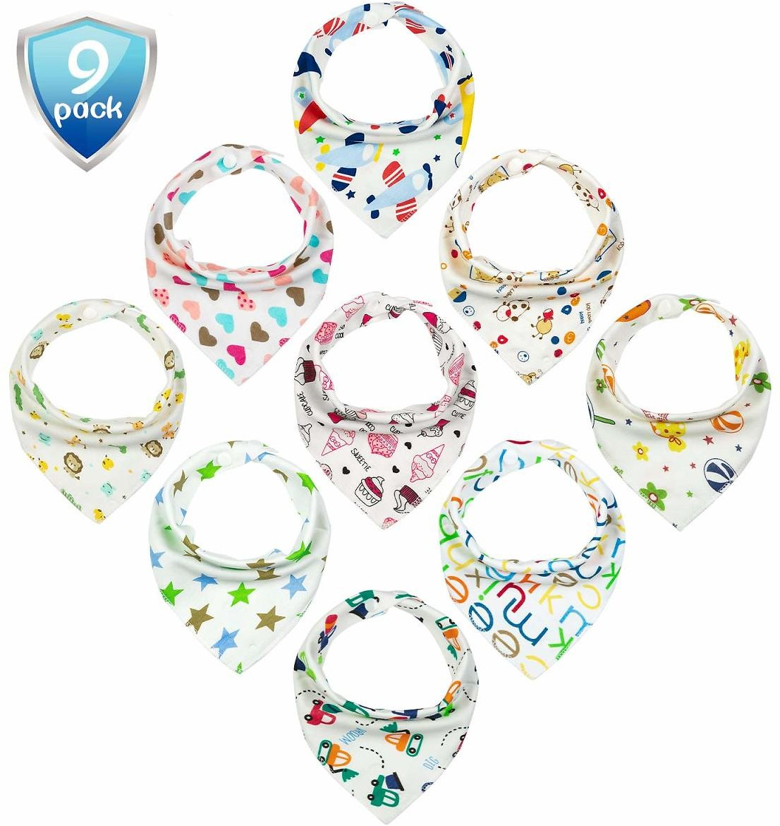 Baby Brooling Bibs Unisex 9-Pack for Teething Drooling Feeding,Soft,Absorbent and Stylish Bandana Bibs As Baby Shower Gifts for