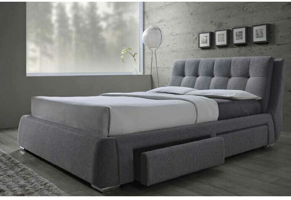 Coaster Coaster Fenbrook Contemporary Queen Upholstered Bed with Storage Drawers - Gray