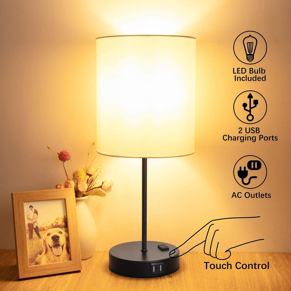 Touch Control Table Lamp, USB Touch Lamp with AC Outlet, 3 Way Dimmable Bedside Nightstand Lamp, LED Desk Lamp USB Reading Lamp