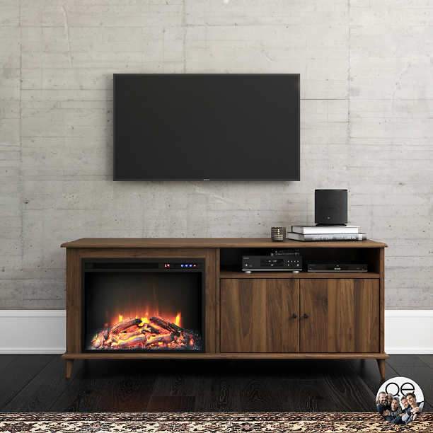 Queer Eye Farnsworth Mid-Century Fireplace TV Stand for TVs Up to 65