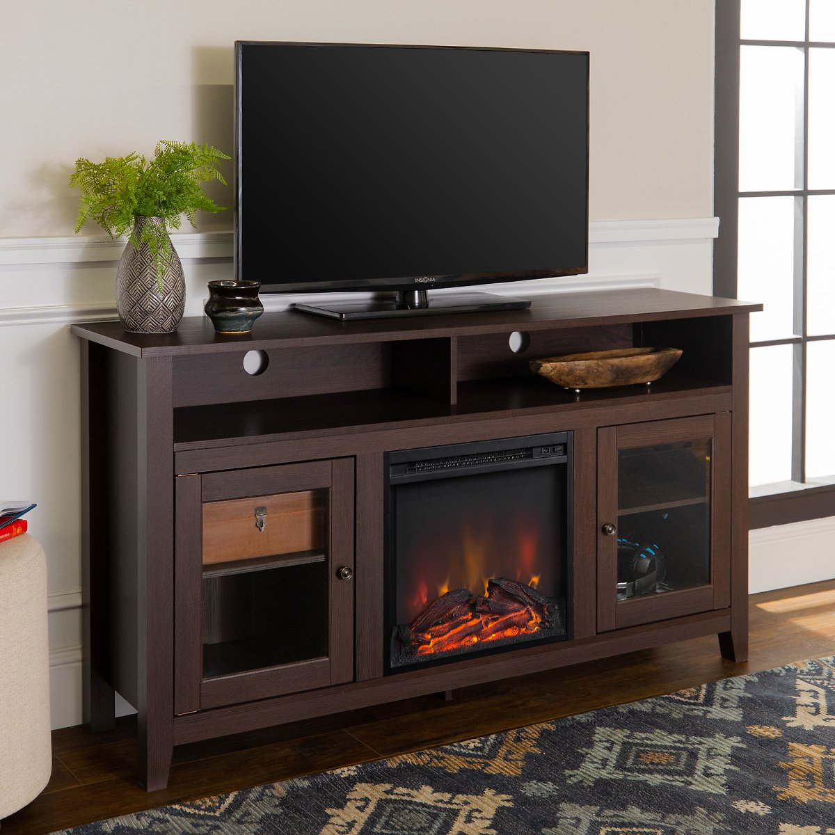 Walker Edison Tall Fireplace TV Stand for TVs Up to 64