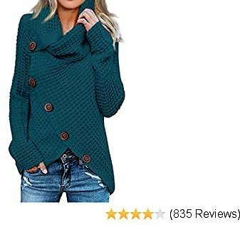 Itsmode Women's Chunky Turtle Cowl Neck Knit Wrap Asymmetric Hem Sweater Coat with Button Details