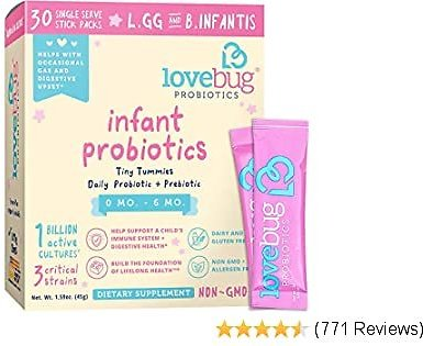 Lovebug Tiny Tummies Probiotic, 30 Packets, Infant & Baby Probiotics Support for Babies 0-6 Months Old, Oral Probiotics Kids - Helps Reduce Crying & Fussiness (30)