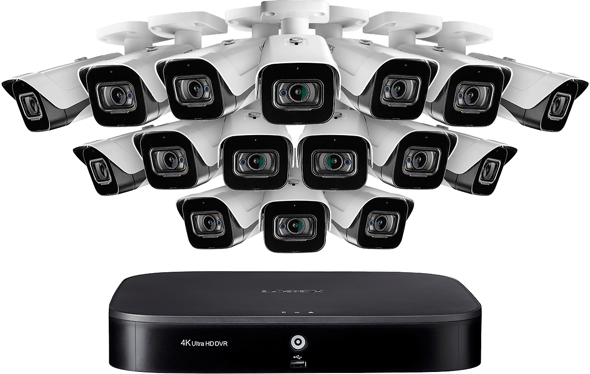 16-Channel 4K DVR Security System with 16 Ultra HD 4K (8MP) Outdoor Metal Audio Cameras, 135ft Color Night Vision