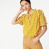 Ruffle-sleeve Cotton Voile Top in Floating Sunflowers