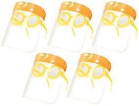 Set 5 Kid's Full Face Guard with Glasses Frame Protection Hat Yellow