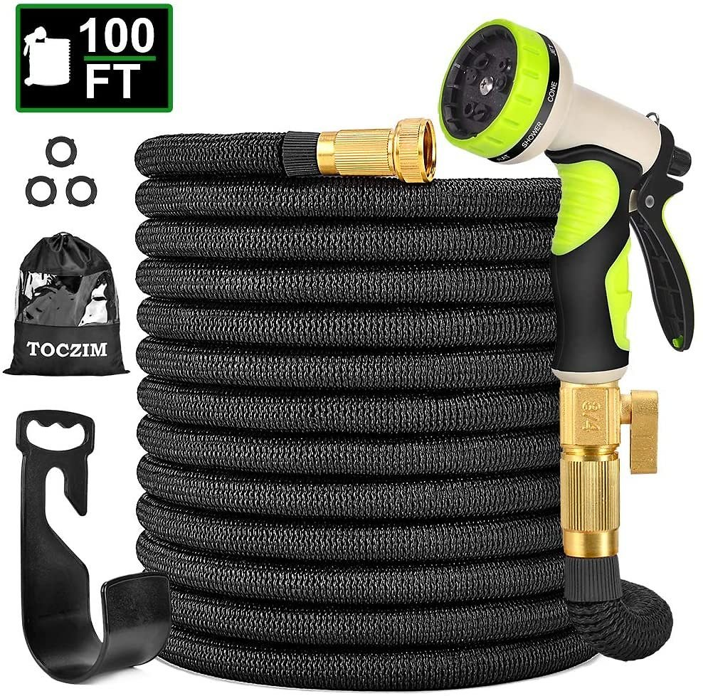 100ft New Expandable Garden Hose w/9 Function Spray Nozzle (F/S)