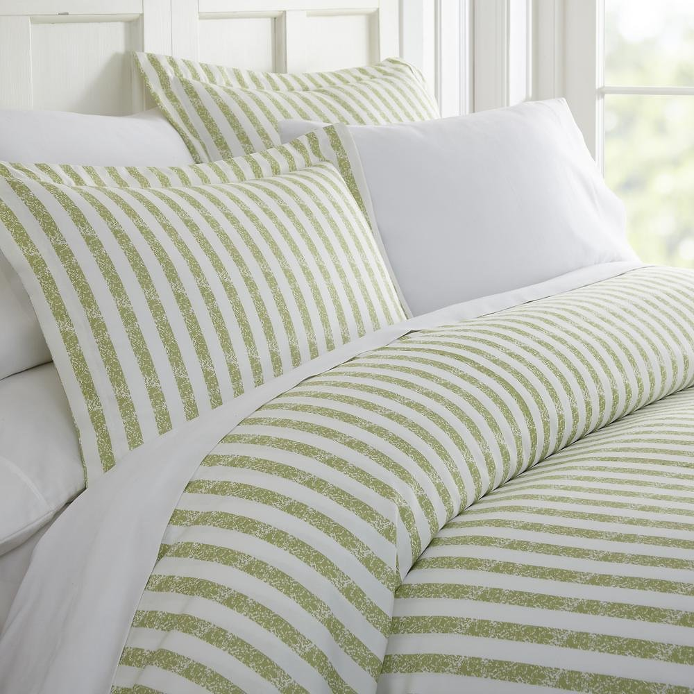 Becky Cameron Rugged Stripes Patterned Performance Sage Queen 3-Piece Duvet Cover Set-IEH-DUV-RUG-Q-SA