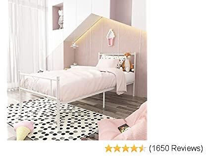 SimLife Platform Kids Boys Adult No Box Spring Needed Princess White Twin Size Bed Frame with Headboard and Footboard Mattress Foundation