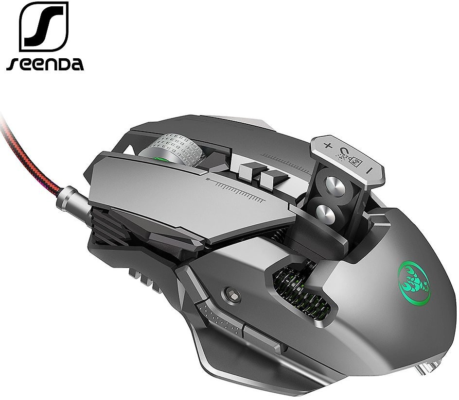 SeenDa Professional Gaming Mouse 3200DPI Full 7 Programmable Buttons RGB LED Optical USB Wired Game Mice for Laptop PC Gamer
