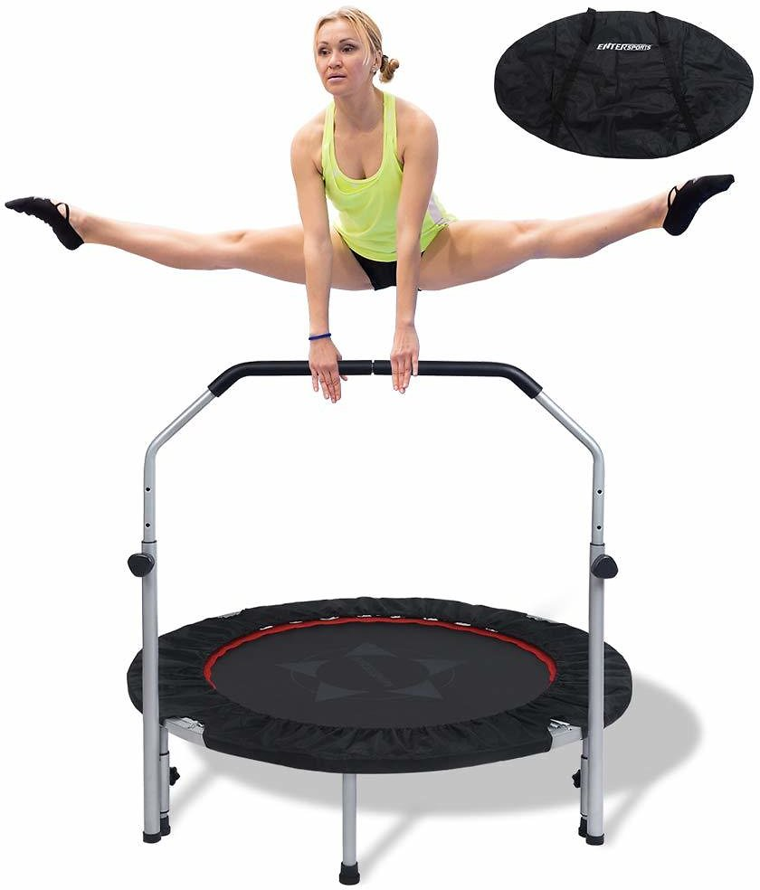 Fitness Trampoline Rebounder with Adjustable Foam Handle Trampoline for Men Women Kids Indoor Workout Home Gym Cardio Trainer