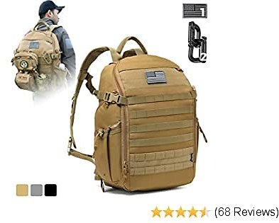DBTAC Tactical Backpack Molle Hiking Daypack 25L with Laptop/Hydration Pockets