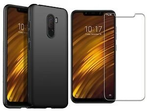 For Xiaomi Pocophone F1 Case Soft Silicone Gel Cover & Glass Screen Protector