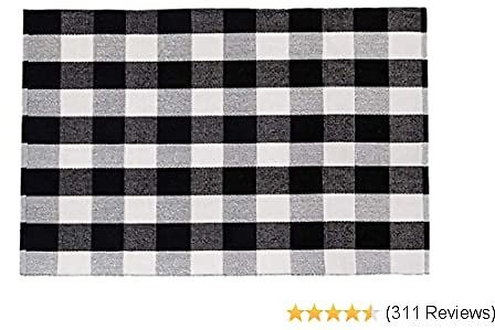 SHACOS Large Cotton Area Rug 4x6 Ft Black White Plaid Cotton Woven Rug for Living Room Bedroom Doorway (4'x6', Black White)