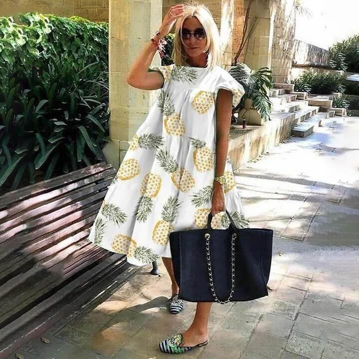 US $10.9 |Summer Style Women Round Neck Flying Sleeve Large Dress Casual Leaf White Pineapple Print Beach Dress|Dresses| - AliExpress