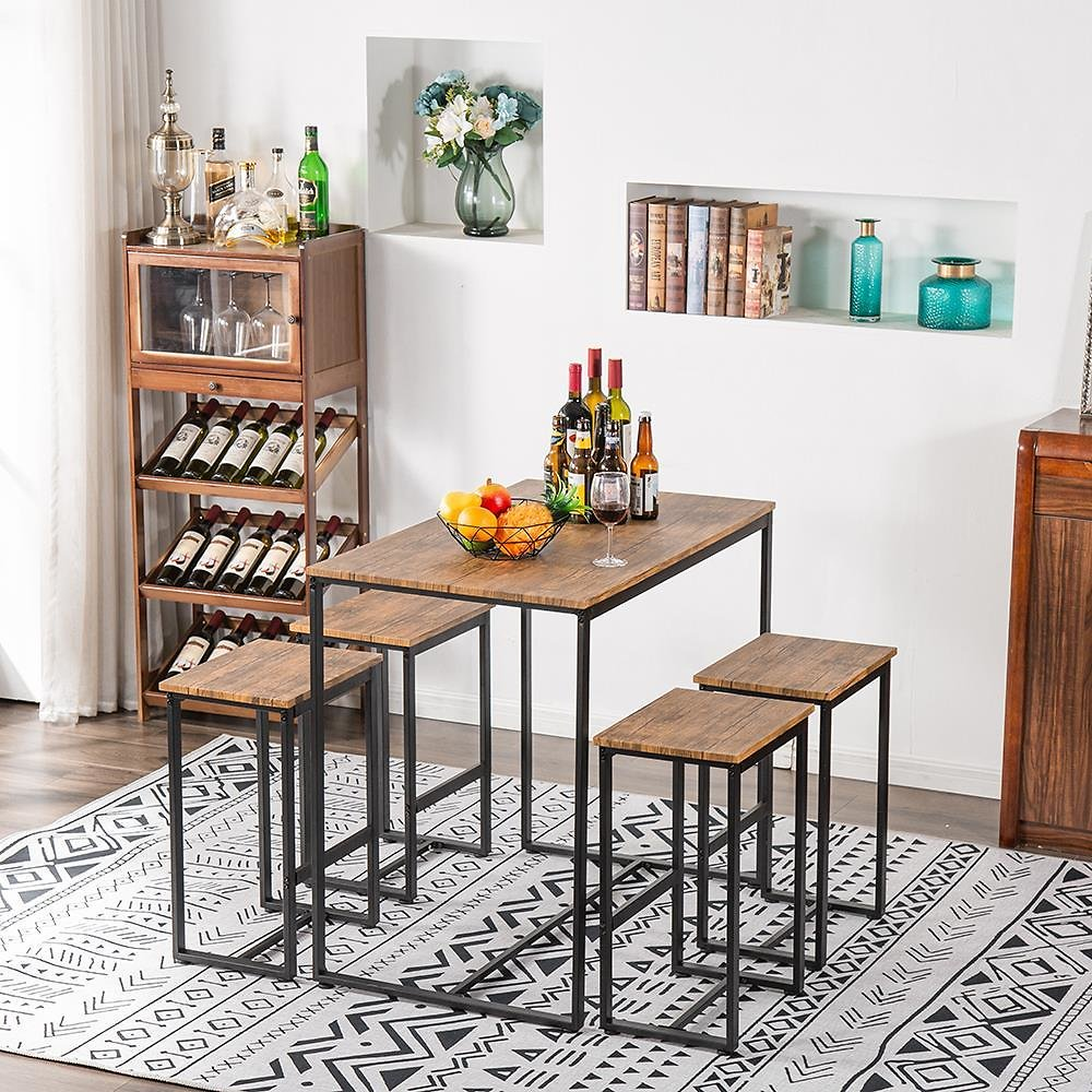 UBesGoo Dining Table Set,5 Piece Counter Height Pub Table Set with 4 Chairs