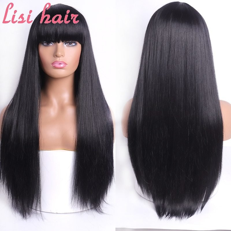 US $10.82 43% OFF|LISI HAIR Blonde Long Straight Wig With Bangs Synthetic Hair Wigs Bang With Wig For Woman Black Brown Heat Resistant Wigs|Synthetic None-Lace Wigs| - AliExpress
