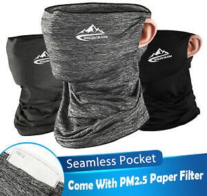 3Pcs Face Scarf Masks Neck Gaiter Bandana with 10Pcs Safety Filters for Outdoor