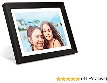 AEEZO WiFi Digital Picture Frame 10.1 Inch IPS Touch Screen HD Display, 16GB Storage, Auto-Rotate, Share Photos & Videos via Free Frameo App, Wall Mountable Digital Photo Frame with Black Wood Frame
