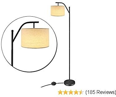 LED Floor Lamp,Anbomo Classic Standing Industrial Arc Light with Hanging Lamp Shade,Modern Floor Lamp for Bedroom, Living Room, Study Room, Tall Pole Uplight for Office(2pcs 6W LED Bulbs Included)