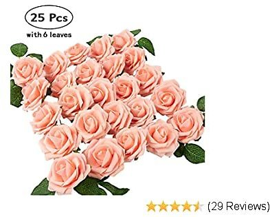 PONKING Pink Roses Artificial Flowers, 25pcs Rose Fake Flowers with Stems for DIY Crafts Wedding Bridal Bouquets Centerpieces Baby Shower Party Home Decorations (Pink)