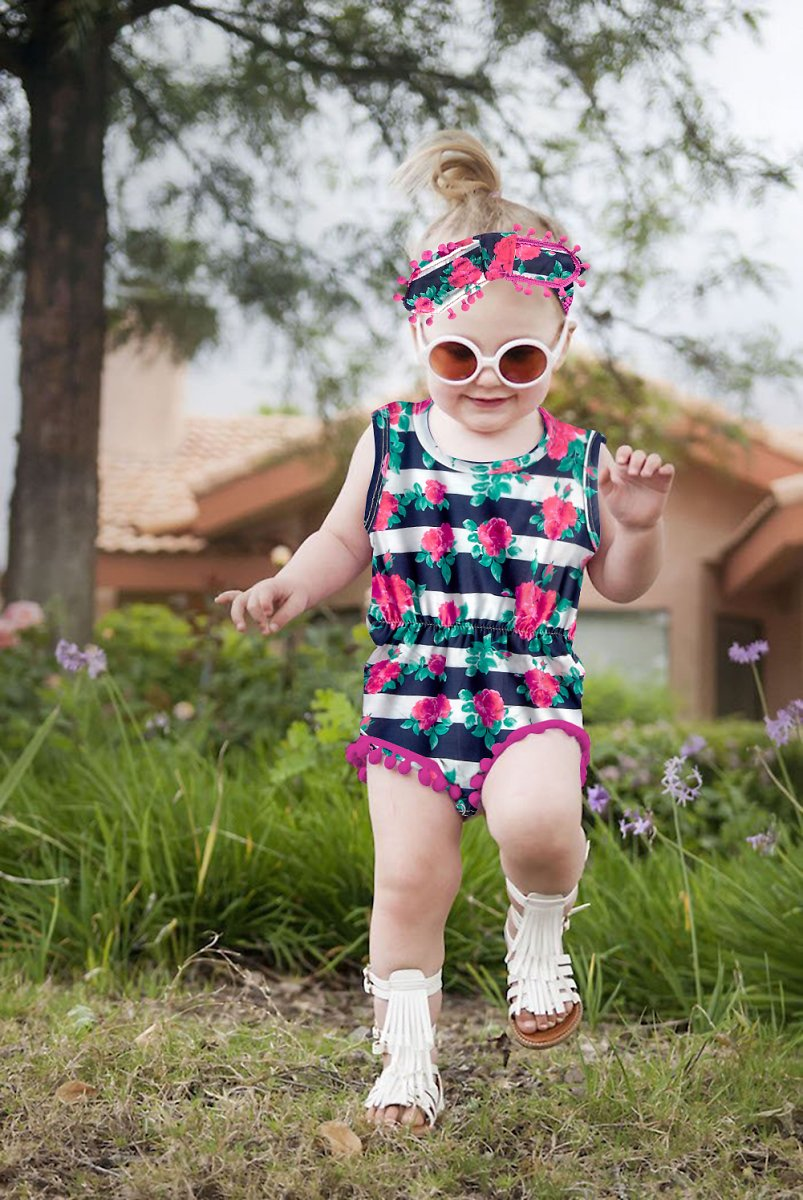 Baby Girls Romper Graphic Printed Sleeveless Jumpsuit with Headband for 0-24M